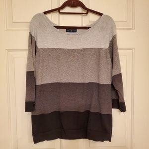 Karen Scott size medium color block gray sweater